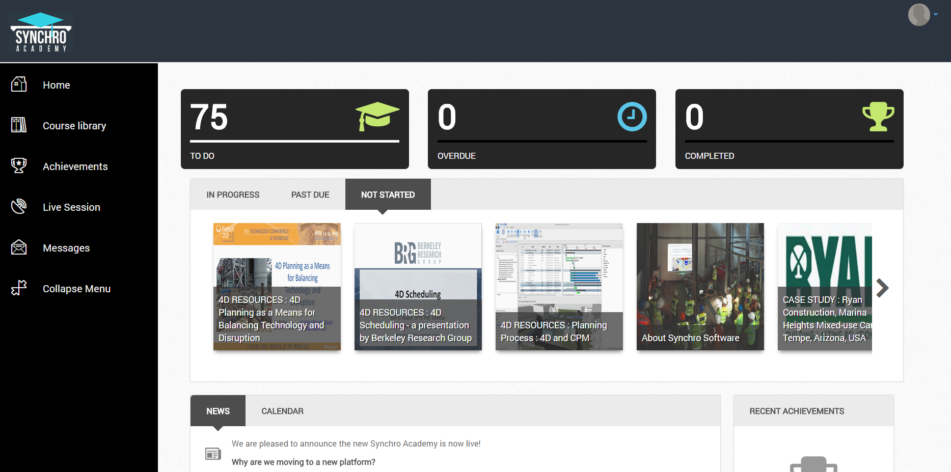 The new Synchro Academy dashboard is clear and easy to navigate